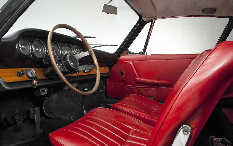 1963 porsche 901 interior red seats wooden steering wheel