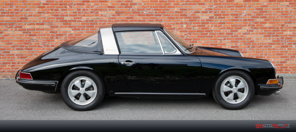 Black 1967 Porsche 911 S Targa seen from the right