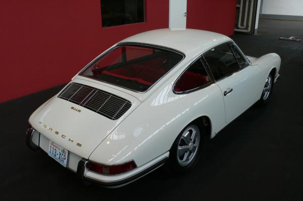 1967 White Porsche 911 S seen from behind