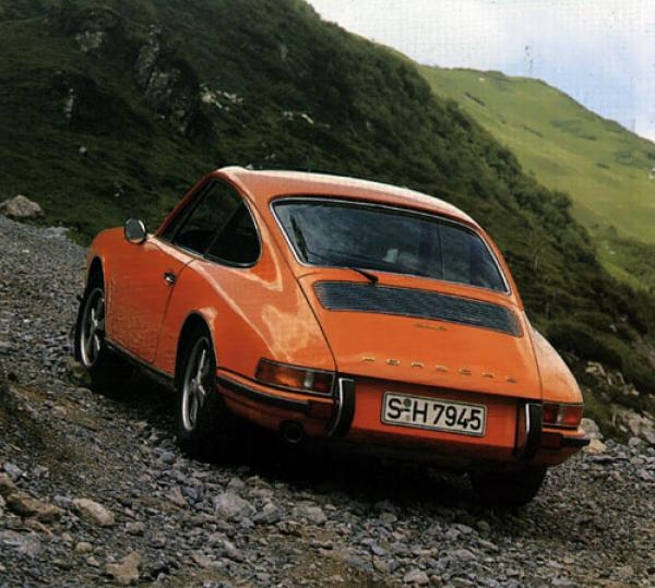 A nice bright orange 1970 911 'E' seen from the rear