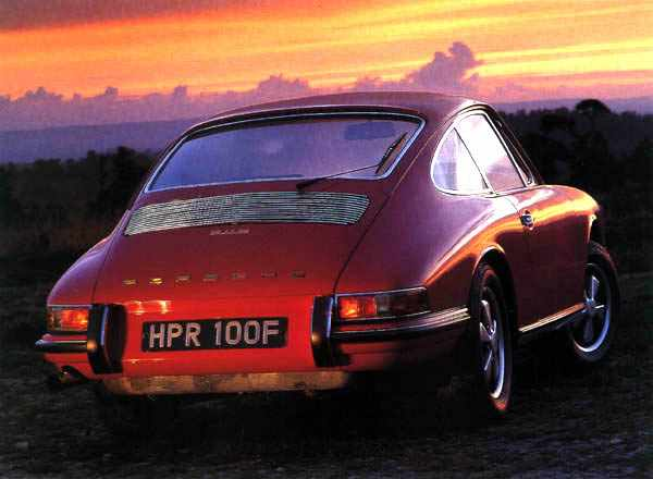 A red 1971 911 S looks into the sunset
