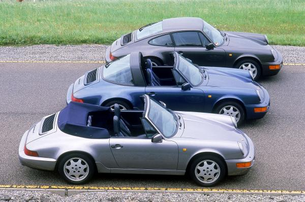 The 1990 line-up of 911's: Carrera 4 Cabrioler, Carrera 4 Targa and Carrera 4 coupe
