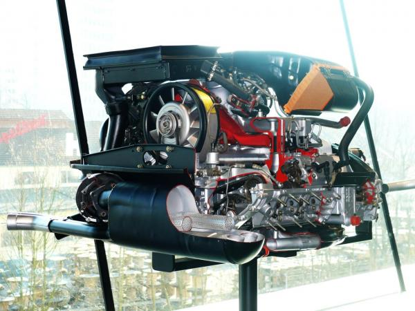 1977 930 Turbo engine display, seen from behind.